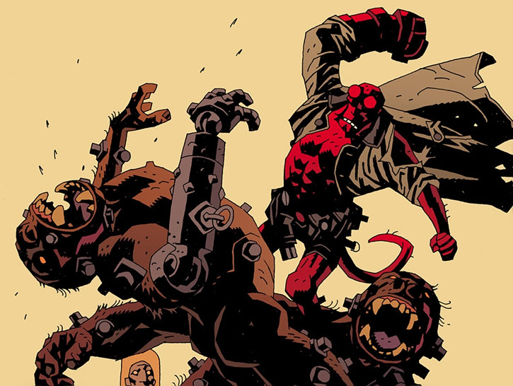 Hellboy (Dark Horse Comics by Mike Mignola) fighting two giant cyborg apes