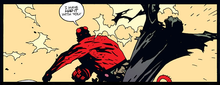 Hellboy (Dark Horse Comics by Mike Mignola) punches a wizard
