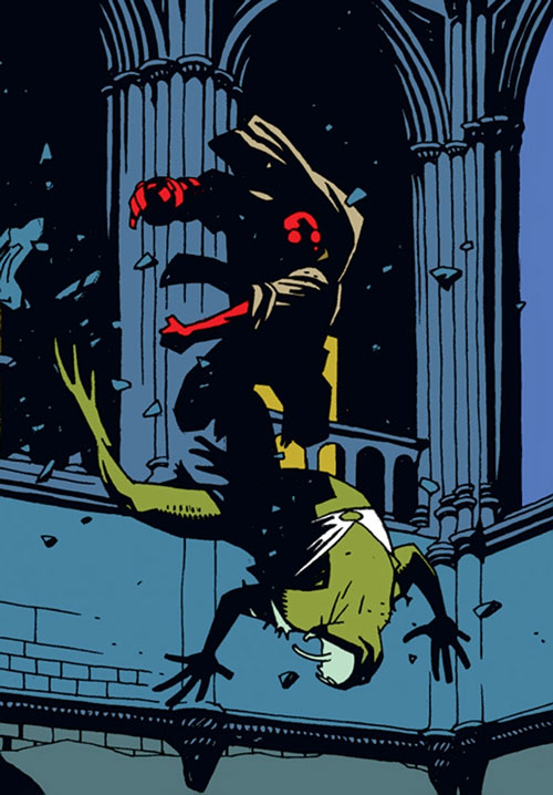 Hellboy (Dark Horse Comics by Mike Mignola) fights a green creature in a church