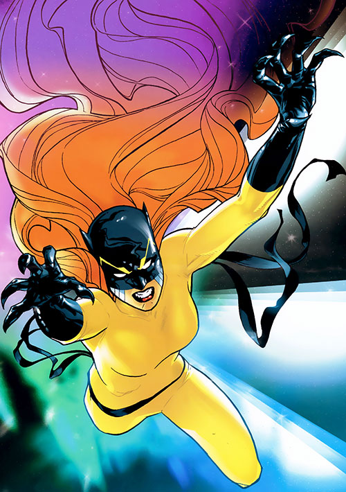 Hellcat (Patsy Walker) (Marvel Comics) in the yellow costume with very long hair