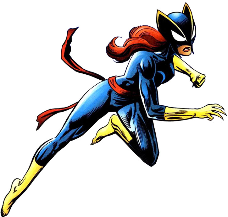 Hellcat (Patsy Walker) with the dark blue / black costume