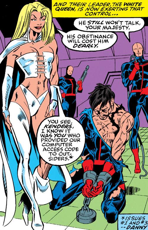 Hellfire Club (Marvel Comics) (Sebastian Shaw 2) - White Queen torturing guard
