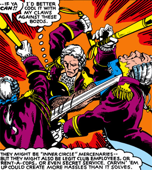 Hellfire Club (Marvel Comics) (Sebastian Shaw 2) - Staff piling onto Wolverine