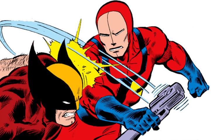Hellfire Club (Marvel Comics) (Sebastian Shaw 2) - Mercenary hitting Wolverine with severed carbine
