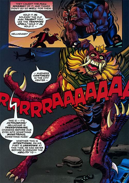 Hellhound (Astro City comics) turning into a demon