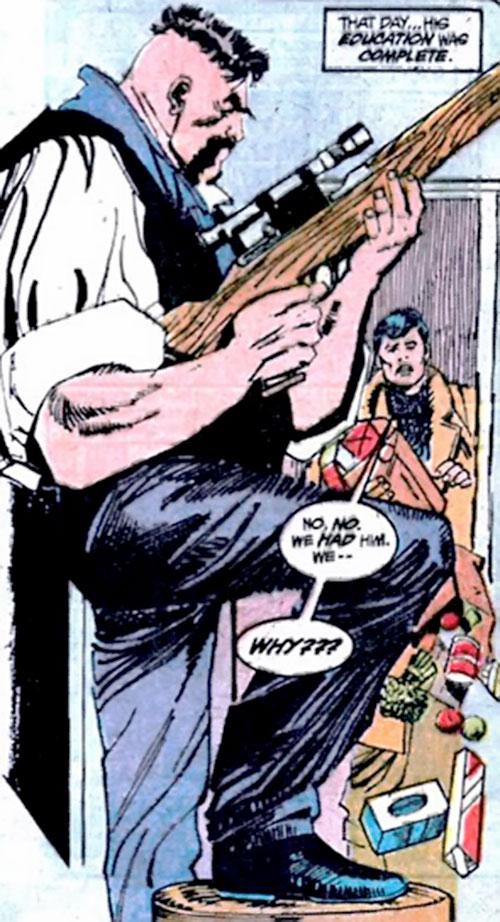 Henri Ducard (Batman character) (DC Comics) with a sniper rifle