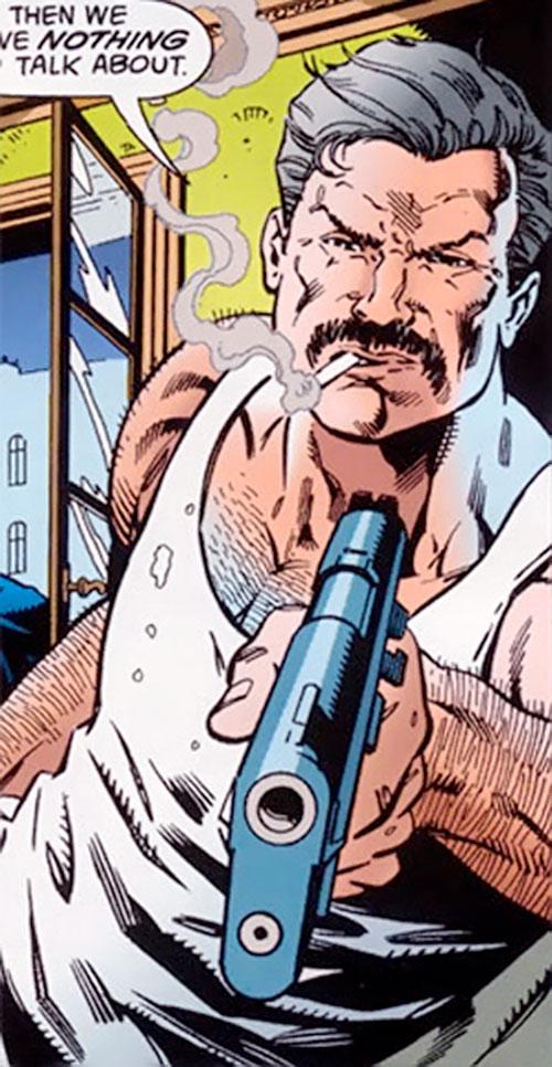 Henri Ducard (Batman character) (DC Comics) pointing a pistol