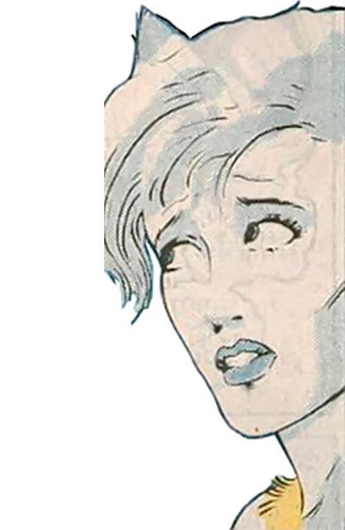 Hepzibah of the Starjammers (X-Men Marvel) face closeup side shot
