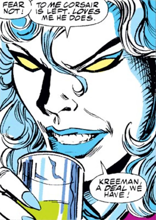 Hepzibah of the Starjammers (X-Men Marvel) face closeup