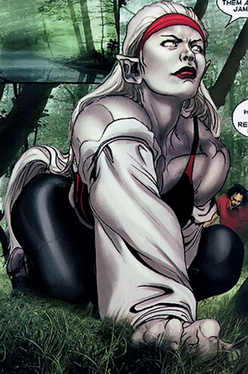 Hepzibah of the Starjammers (X-Men Marvel) in Earth clothing, in a forest