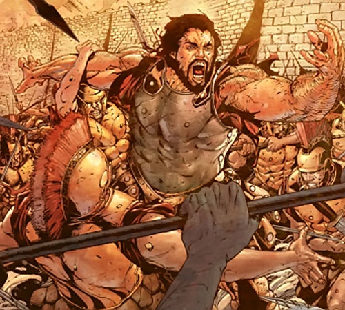 Hercules (mythology) - fighting an army, comic book art