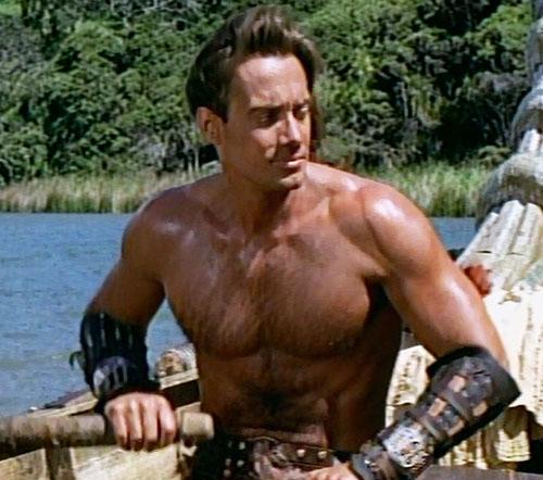 Hercules (Kevin Sorbo in Legendary Journeys) rowing shirtless