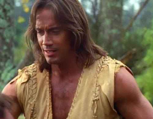 Hercules (Kevin Sorbo in Legendary Journeys) in a forest