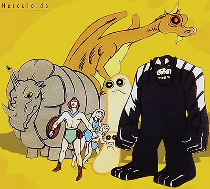 Herculoids on a yellow background