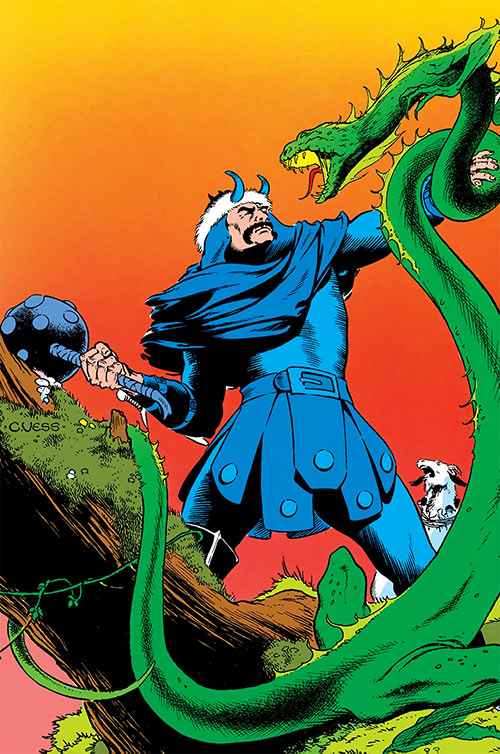 Hogun the Grim (Thor ally) (Marvel Comics) fights a giant serpent