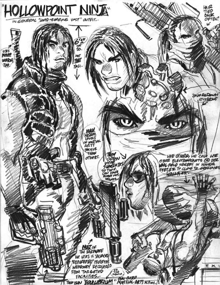 Hollowpoint Ninja character design sheet