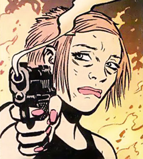 Holly Robinson (Catwoman character) (DC Comics) pointing a smoking gun