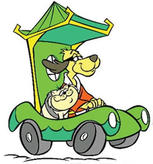 Hong Kong Phooey (Hanna-Barbera cartoon) driving with Spot