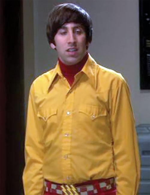 Howard Wolowitz (Simon Helberg in Big Bang Theory) with a canary yellow shirt