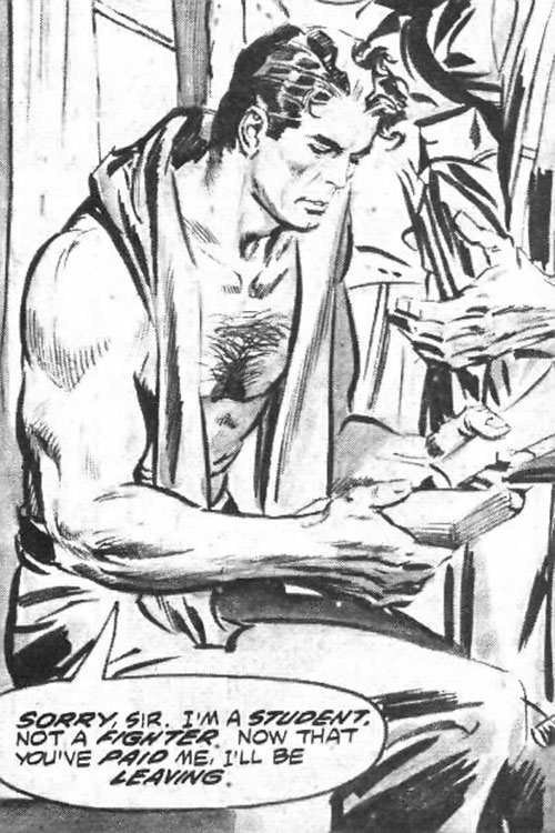 Hugo Danner (Gladiator) from the Marvel adaptation (B&W art)
