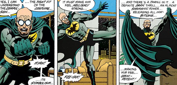 Hugo Strange tries out the Batman costume