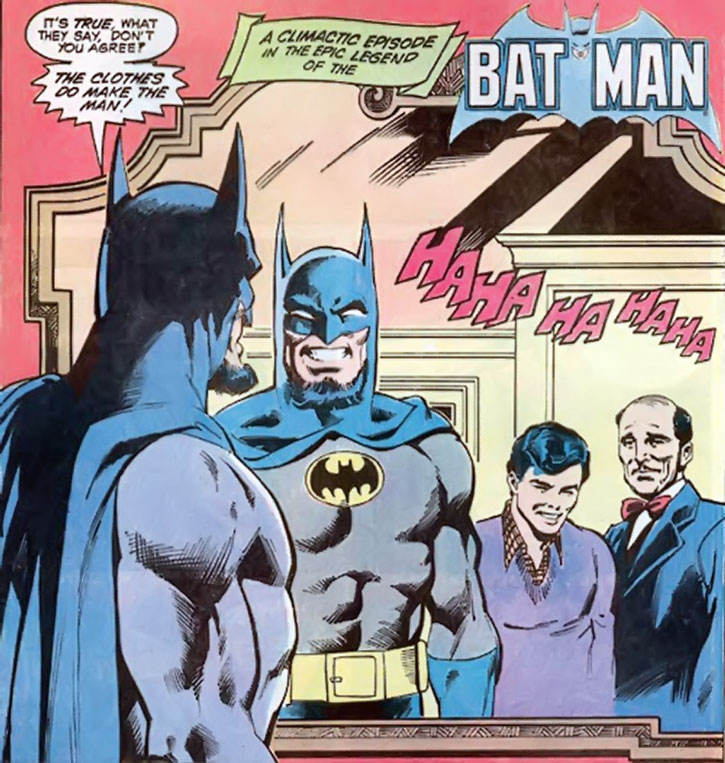 Hugo Strange disguised as Batman, with Dick Grayson and Alfred Pennyworth