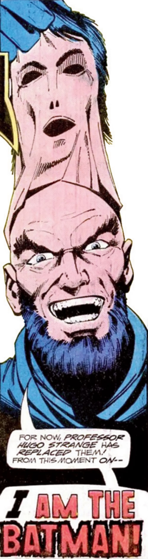 Hugo Strange (Batman enemy) (DC Comics) triumphantly removing his mask