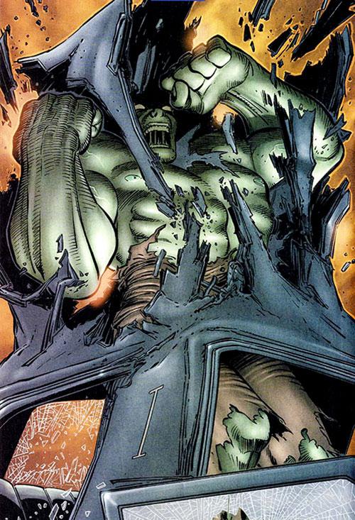 Hulk (Marvel Comics iconic) bursting through a car roof