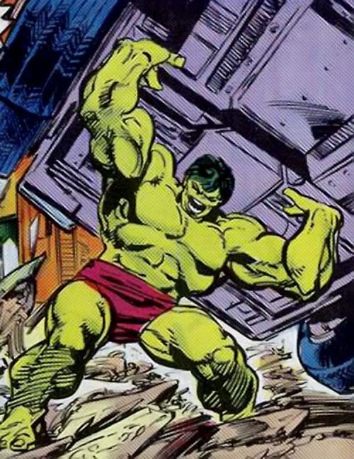 Hulk (Marvel Comics iconic) lifting a huge vehicle