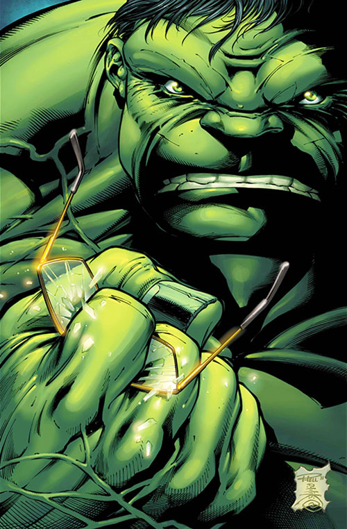 Hulk (Marvel Comics iconic) crushing his glasses