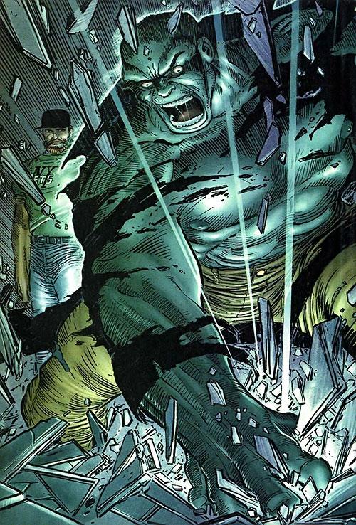 Hulk (Marvel Comics iconic) smashing the ground