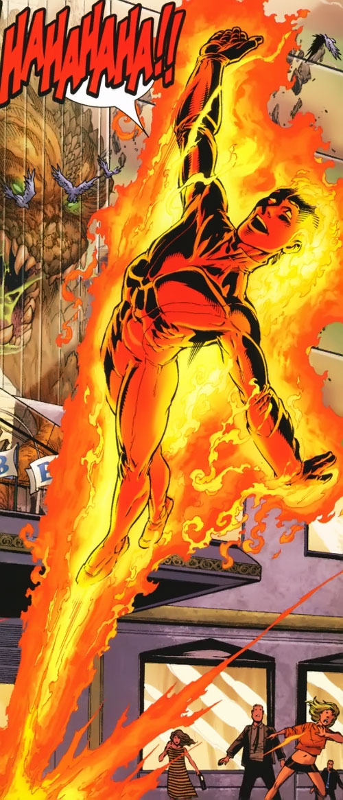 Ultimate Human Torch (Ultimate Marvel Comics) enthusiastically taking off