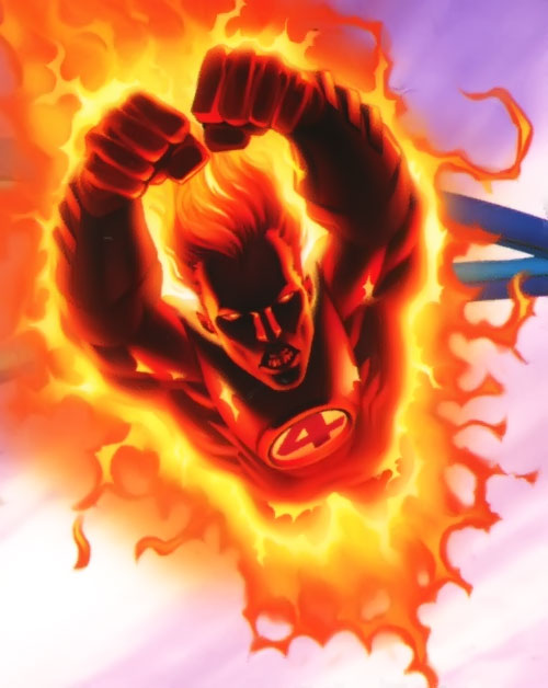 Ultimate Human Torch (Ultimate Marvel Comics) flying and burning