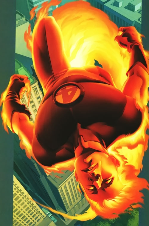 Ultimate Human Torch (Ultimate Marvel Comics) flying on his back
