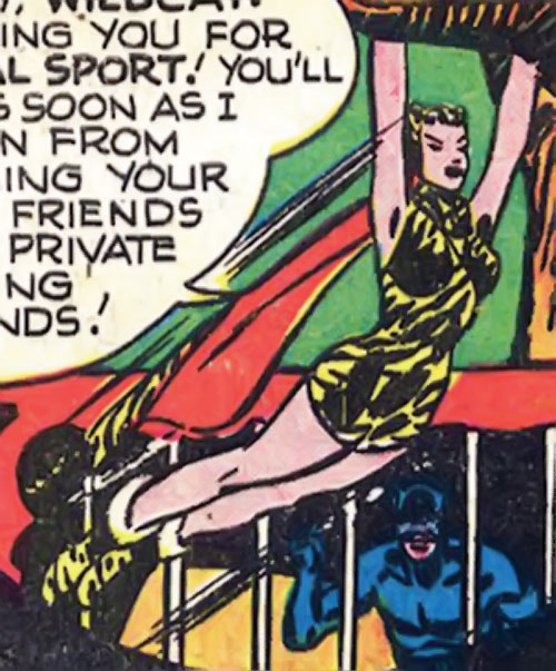 Huntress (Wildcat enemy) (DC Comics Golden Age) leaps to catch a branch