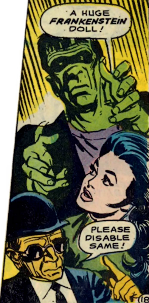 I-Ching (Wonder Woman ally) (DC Comics) and a Frankenstein monster