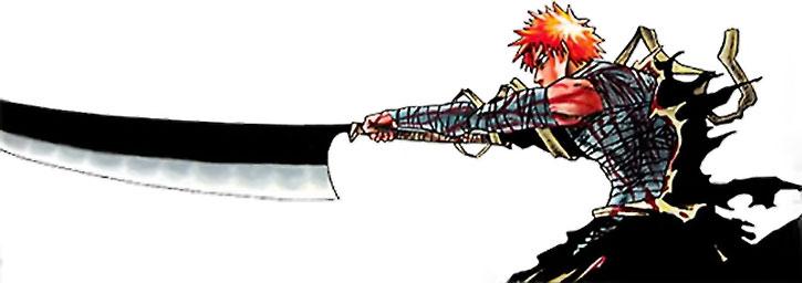 Ichigo thrusts with his sword