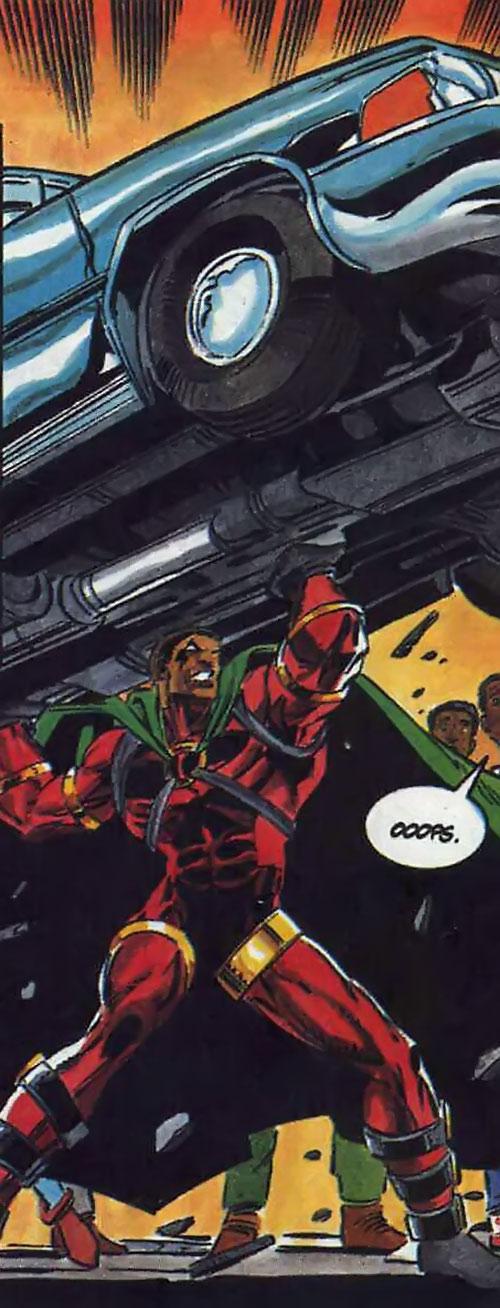 Icon (Milestone comics) lifting a car