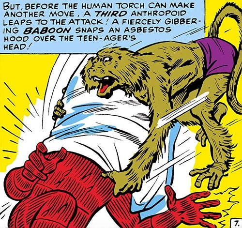 Igor the baboon (Super-Apes of the Red Ghost) (Marvel Comics) vs. the Human Torch
