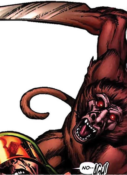 Igor the baboon (Super-Apes of the Red Ghost) (Marvel Comics) with his hand turned into a blade