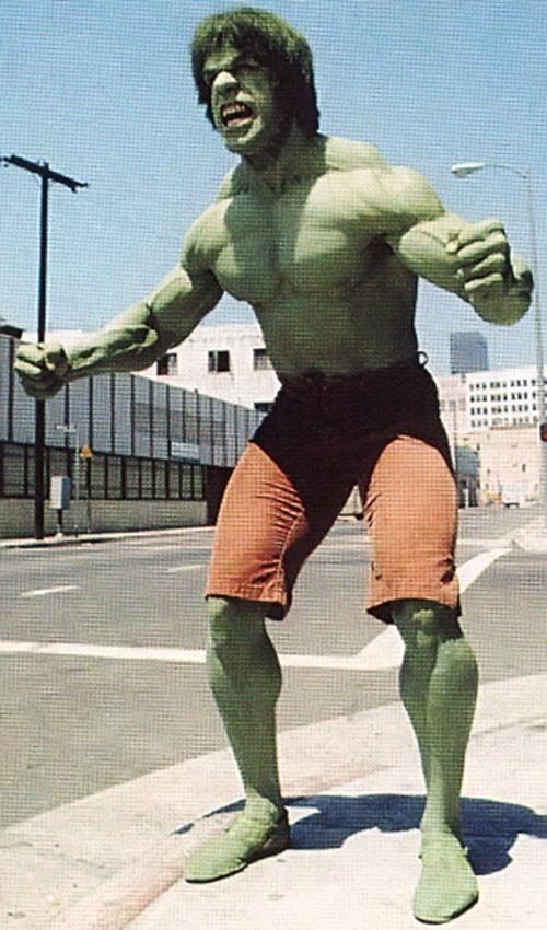 Lou Ferrigno as the Hulk, flexing angrily