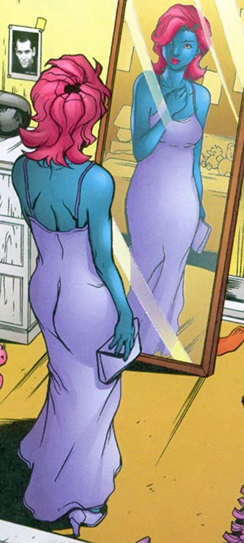 Indigo of the Outsiders (DC Comics) in a purple dress