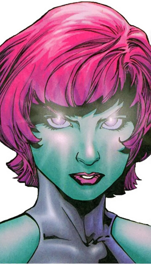 Indigo of the Outsiders (DC Comics) face closeup with glowing eyes