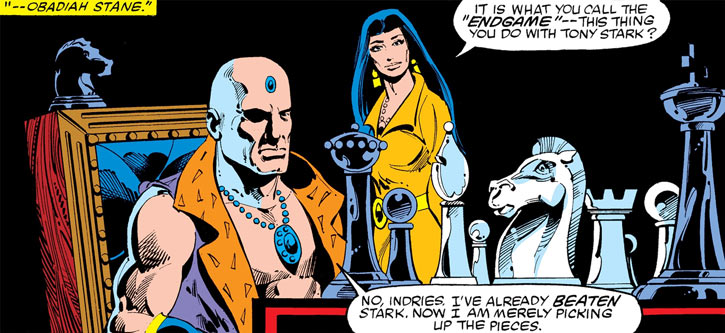 Indries Moomji and Obadiah Stane with a chessboard (Marvel Comics) (Iron Man)