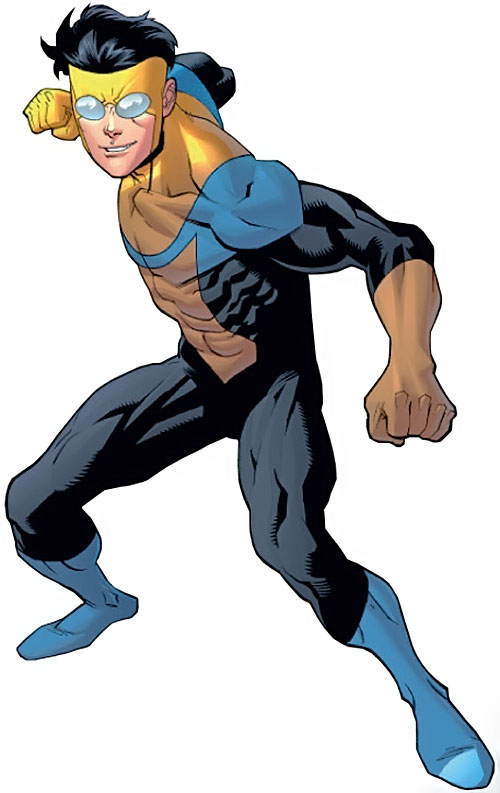 Invincible (Image Comics) smiling and about to throw a punch