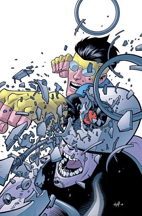 Invincible (Image Comics) punches a cyborg