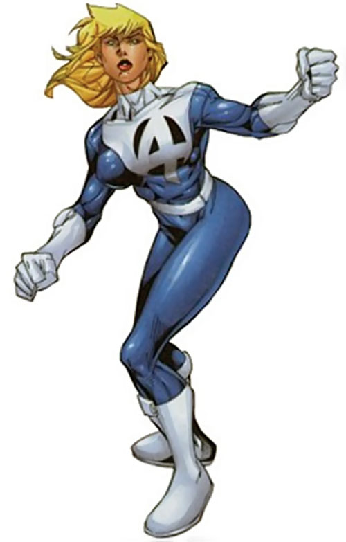 Modern Invisible Woman of the Fantastic Four with a left pectoral logo