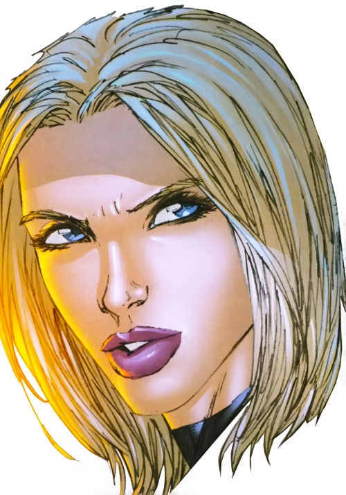 Ultimate Invisible Woman (Ultimate Marvel Comics) smirking face closeup