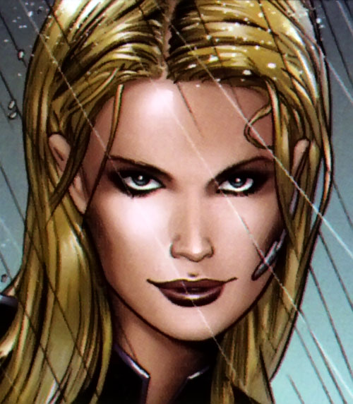 Ultimate Invisible Woman (Ultimate Marvel Comics) face closeup under rain