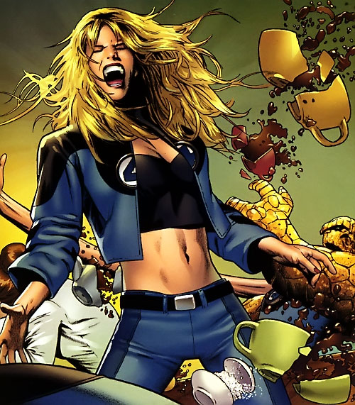 Ultimate Invisible Woman (Ultimate Marvel Comics) screaming